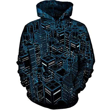 PriHuaTe Unisex 3D Night City Hooded Sweatshirt at Amazon Mens Clothing store: