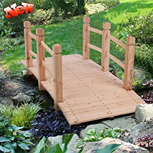 LEEKOUS Upgraded Version Thicken Wooden Garden Bridge for Outdoors 5ft, Landscape Arch with Safety Railsm, 500lbs Capacity Decorative Pond Bridge for Backyard Garden Farm (Natural Wood)