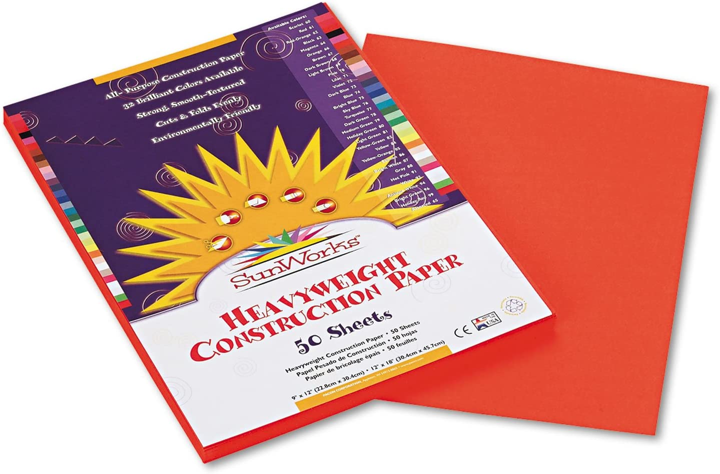 58 lbs Orange 50 Sheets//Pack SunWorks 6603 Construction Paper 9 x 12
