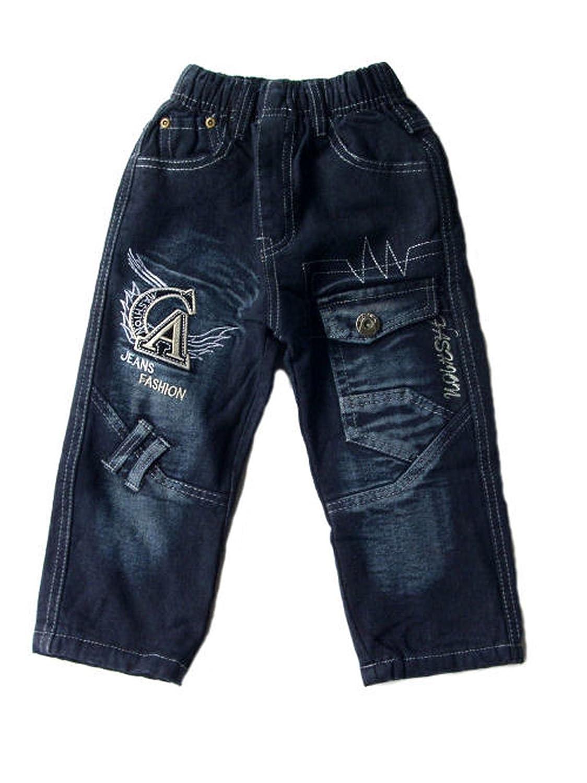 Kinder Thermo Jeans, Thermojeans, Thermohose, gefüttert, mit Motiv , schwarz, F-33