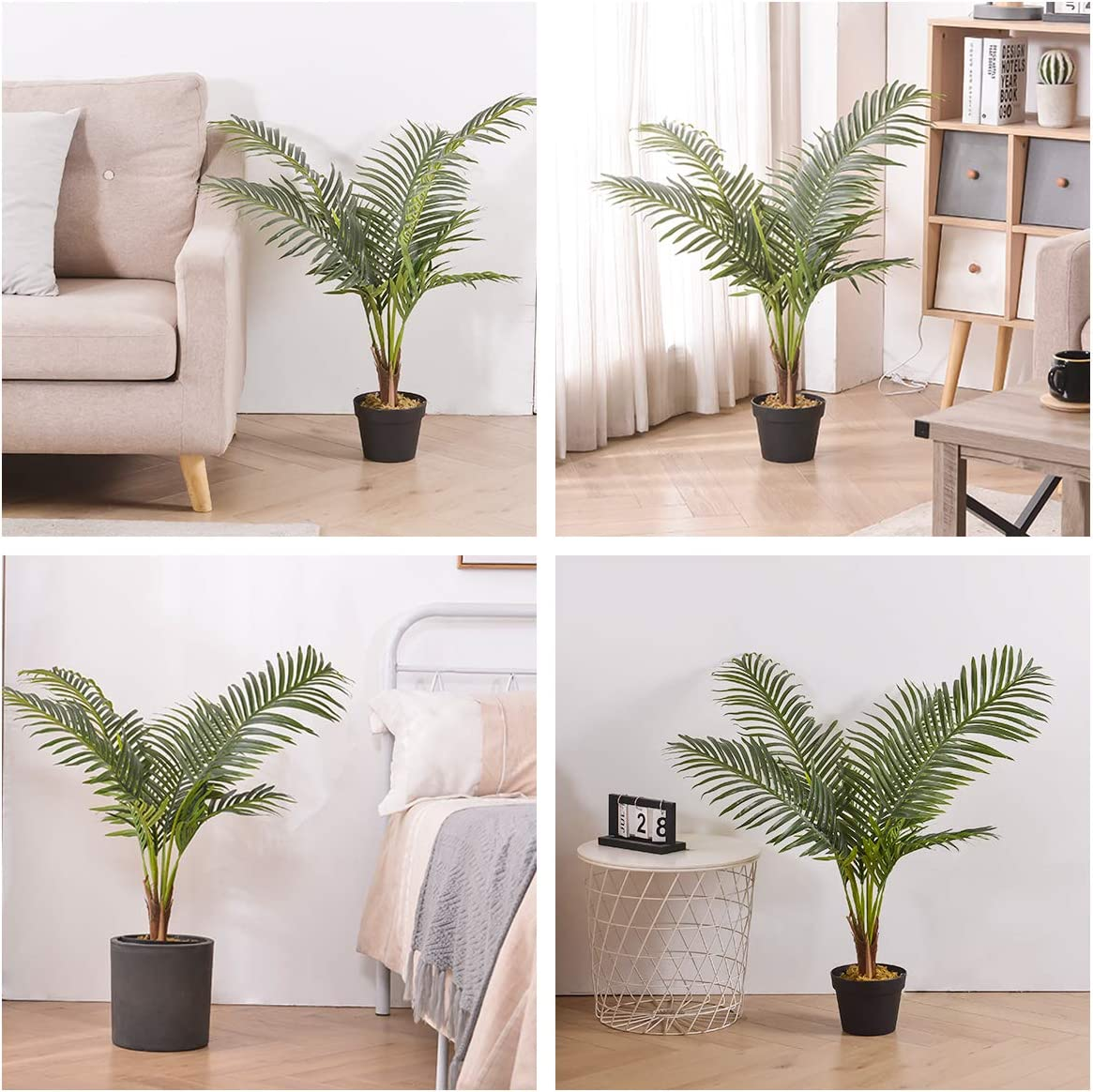 Green 39 Fake Paradise Palm Trees Kelivol Artificial Areca Palm Trees Artificial Trees In Pots For Home Decor Indoor 2 Pack Artificial Dried Flora Home Decor