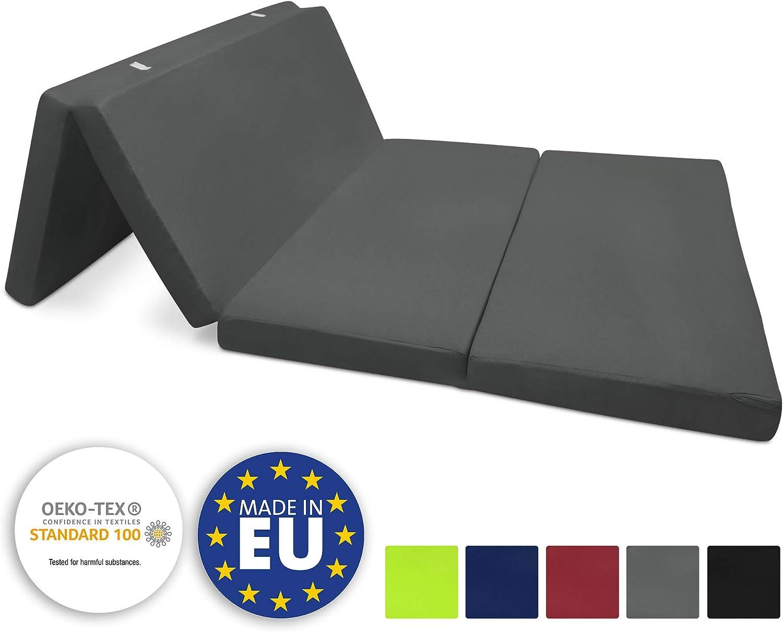 Beautissu Colchón Plegable Campix 120 x 195 x 7 cm - Cómodo y Ahorra Espacio - con Funda de Microfibra - Antracita