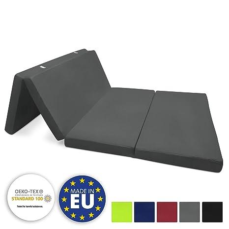 Beautissu Cómodo colchón Plegable Campix Auxiliar futón 120 x 195 x 7 cm Ahorra Espacio Tela Microfibra Antracita