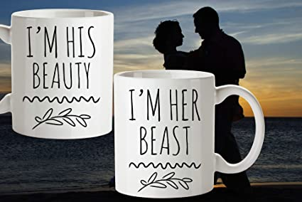 Amazoncom Im His Beauty Im Her Beast Mug Set Couples Mugs His And