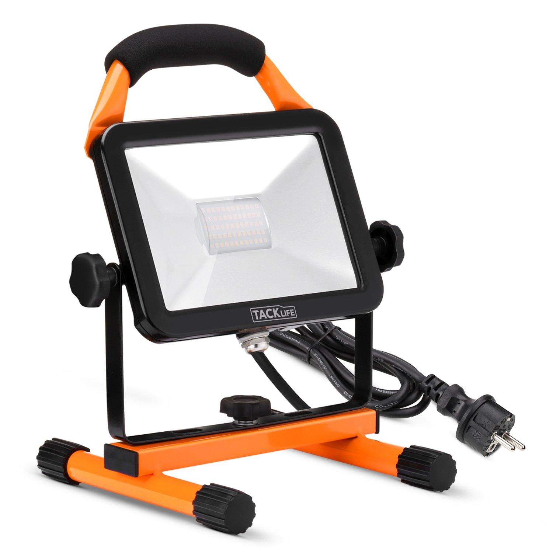 Foco LED Proyector, TACKLIFE-LWL2A-LED Exterior 30W, Foco LED Reflector para Trabajo Exterior, Lámpara Camping, Proyector LED, Luz Portátil para Trabajo de Noche, Iluminacion Exterior del Jardín