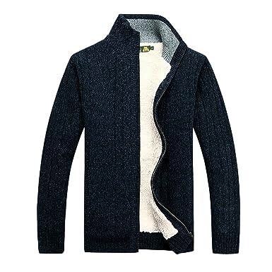 moderne et élégant à la mode Vente grande remise GWELL Homme Cardigan Veste en Maille Ouvrez-Front Zippé Gilet Automne Hiver  en Laine Coton avec Poche