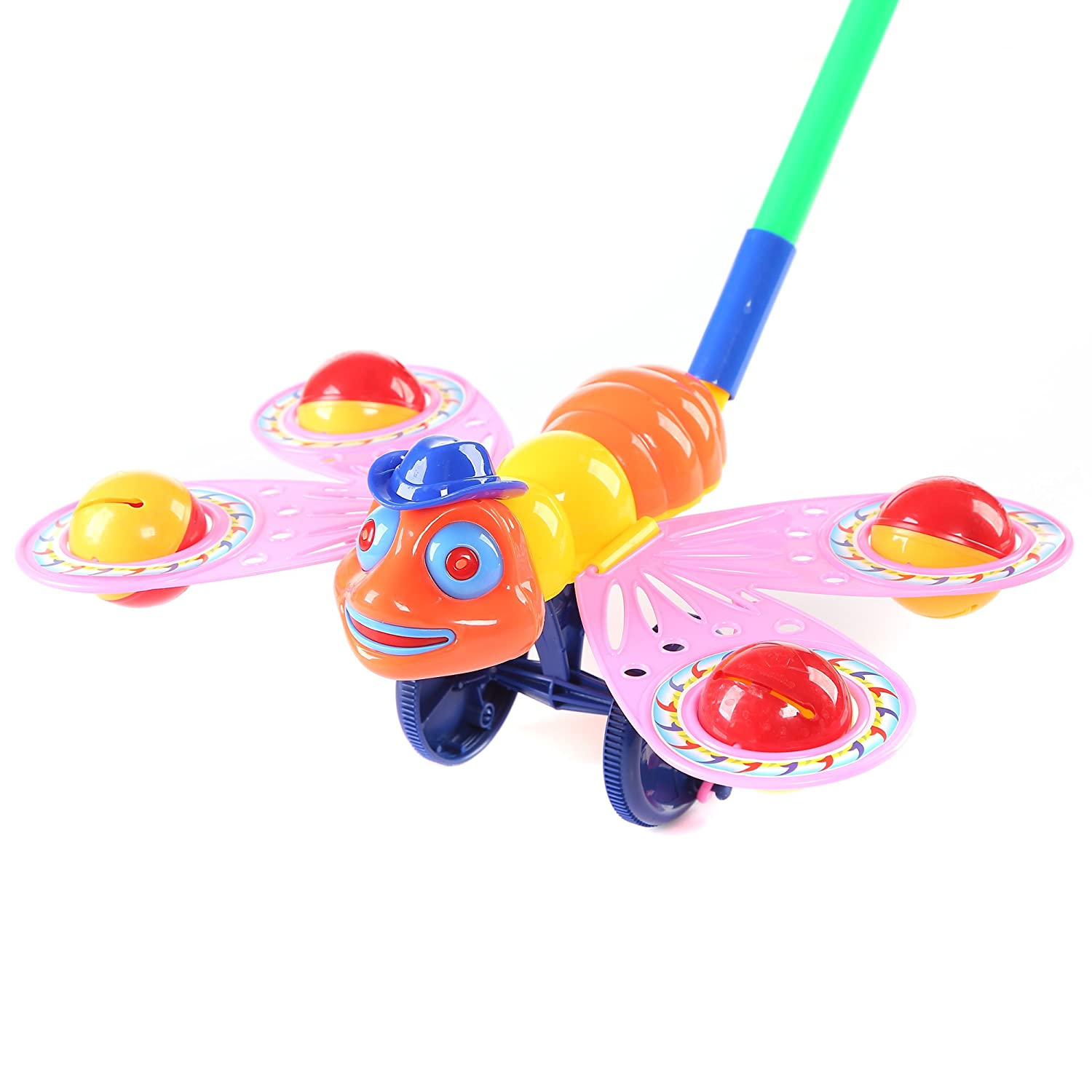 Fun Central BC761 1 Pc 10.5 Inches Bee Push Toy Pushing Toy for Kids Outdoor Push Toys Classic Push and Pull Toys Push Around Toy for Baptism Birthday and Party Prizes