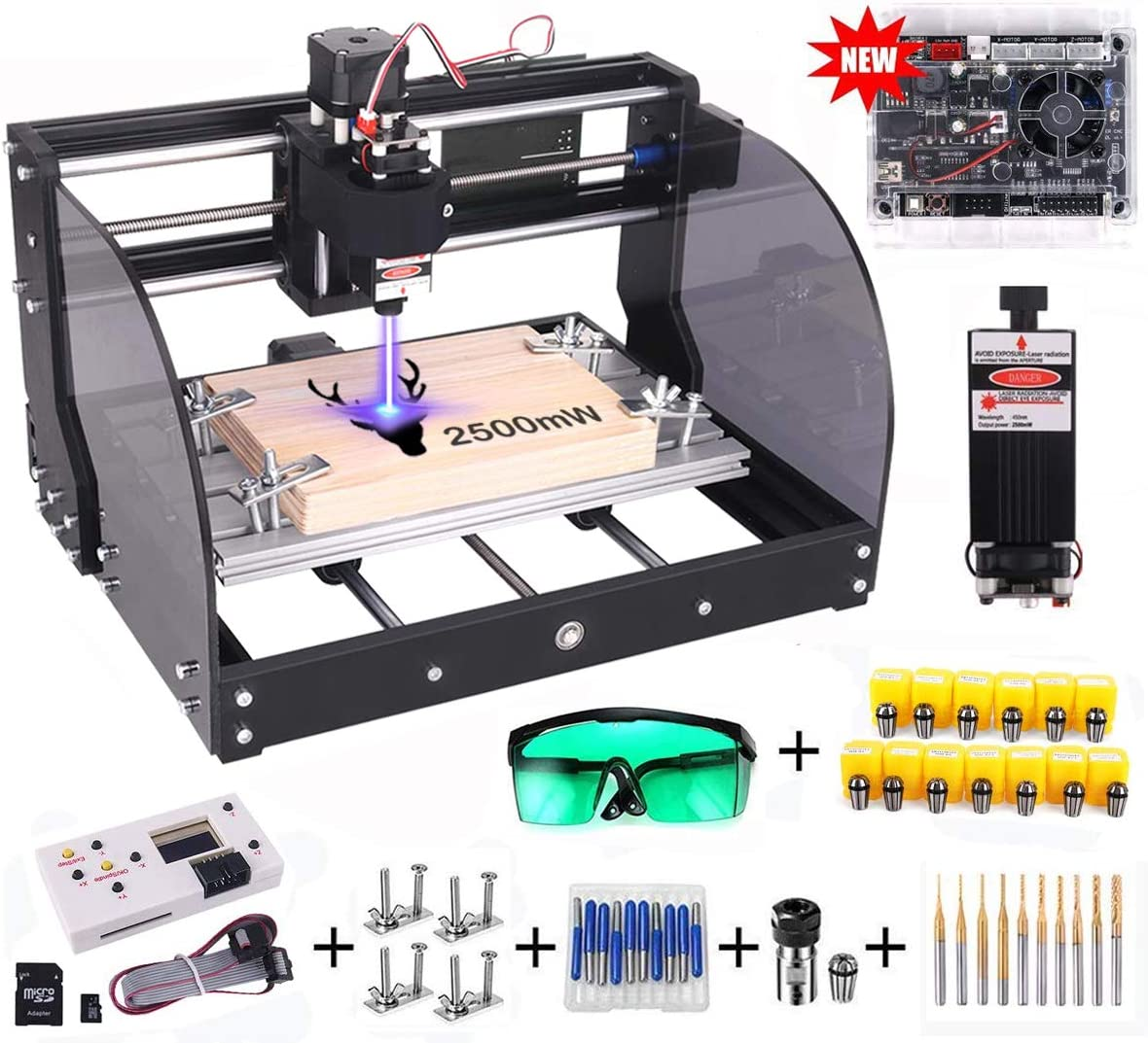 Upgrade Version CNC 3018 Pro-M GRBL Control DIY CNC Router Machine, Yofuly 2500mW Laser Engraver 3 Axis PCB PVC Milling Engraving Machine, with Extension Rod Offline Controller Board 2500mW