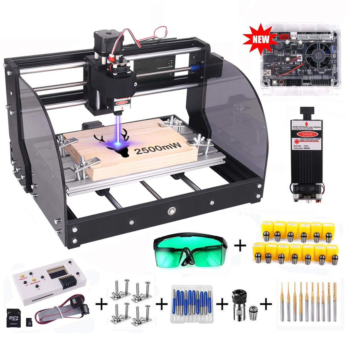 【Upgrade Version】CNC 3018 Pro-M GRBL Control DIY CNC Router Machine, Yofuly 2500mW Laser Engraver 3 Axis PCB PVC Milling Engraving Machine, with Extension Rod | Offline Controller Board (2500mW) 71tQv5wcbDL