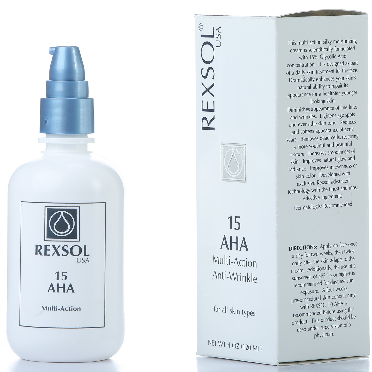 REXSOL 15 AHA Multi-action Anti-Wrinkle Cream   With Vitamin E, Algae Extract, Ginseng Extract, Calendula Extract, Caviar Extract   Diminishes appearance of fine lines & wrinkles (120 ml / 4 fl oz)