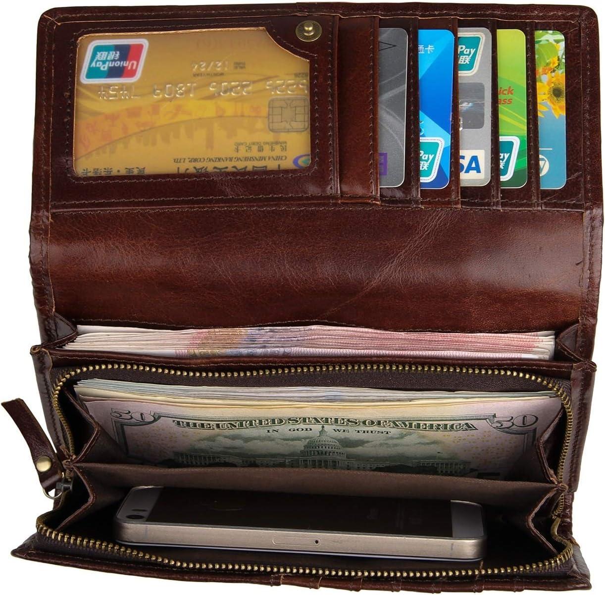 Billetera Vintage de Cuero Billetera de Mujer Personalidad Billetera Bordada de Cuero de Moda Bolso de los Hombres (Color : Multi-Colored, tamaño : S)