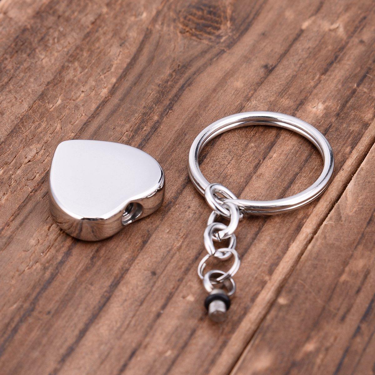 My Friend Series Heart Cremation Urn Keychain Keepsake Stainless Steel Memorial Ashes Keyring