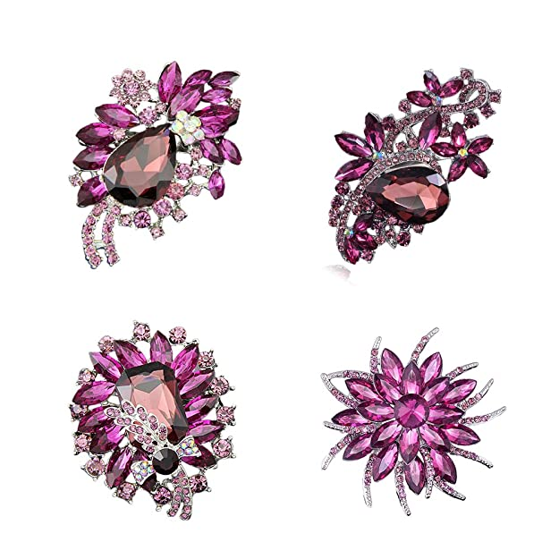 1940s Costume Jewelry: Necklaces, Earrings, Brooch, Bracelets Ezing 4pcs Purple Crystal Rhinestone Brooches For Wedding Bouquet Decoration $15.88 AT vintagedancer.com