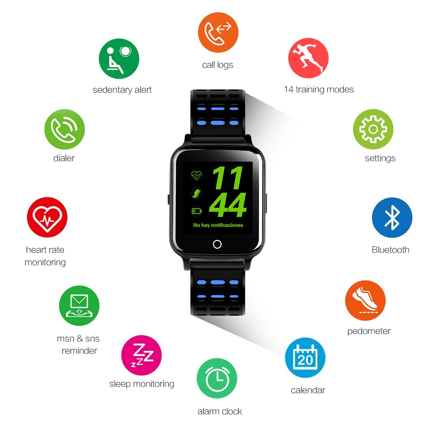 Smart Watch,Bluetooth Smart Watch Touch Screen Smartwatch Sport Smart Fitness Tracker Wrist Watch with SIM Card Slot Camera Pedometer for iOS iPhone Android Samsung Smartphones for Men Women