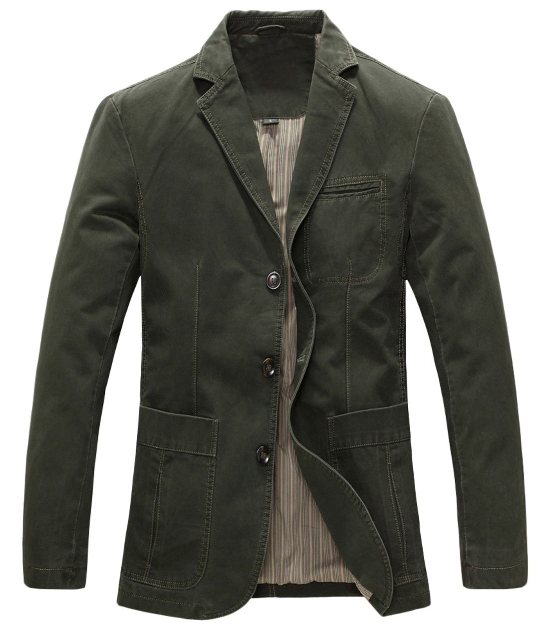 Chouyatou Men's Casual Three-Button Stripe Lined Cotton Twill Suit Jacket X-Large Army Green