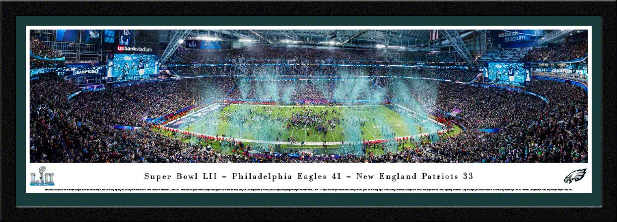 Super Bowl 2018 Champions, Philadelphia Eagles - 42x15.5-inch Single Mat, Select Framed Picture by Blakeway Panoramas by Blakeway Worldwide Panoramas, Inc.