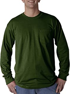 product image for Bayside Apparel mens Long-Sleeve Tee with Pocket(BA8100)-FOREST GREEN-3XL