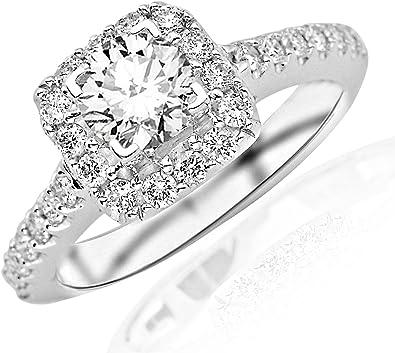 1 49 Carat Round Cut Square Halo Diamond Engagement Ring I J Color I1 Clarity Amazon Com