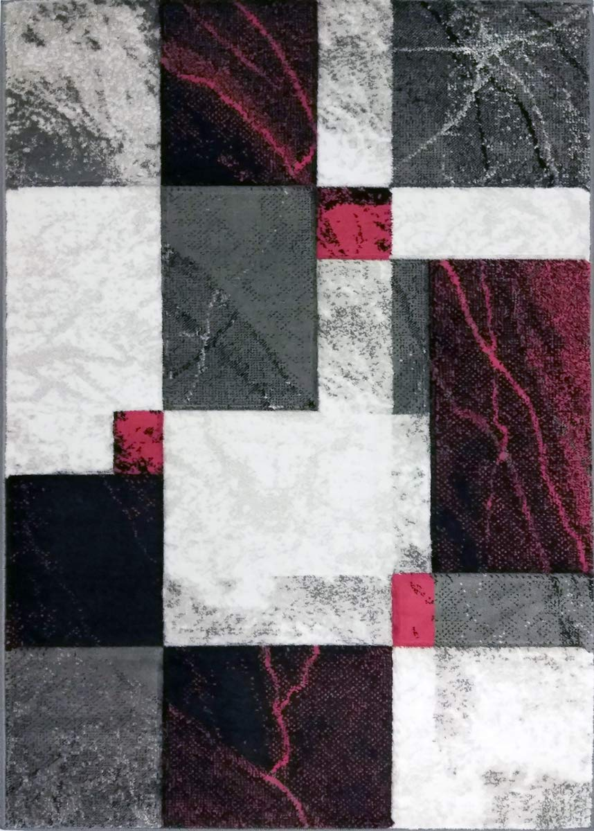 Sapphire Collection, 3 Feet X 5 Feet, Contemporary Abstract Geometric Squares Swirls Bedroom Living Dining Room Area Rug Grey Red