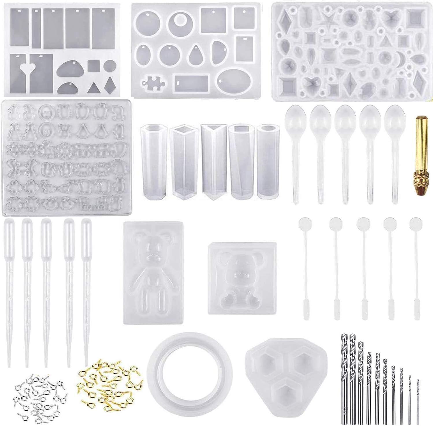 229 Piezas Molde Silicona Resina, Ouinne Moldes de Resina para Collar Pendiente Fabricación de Colgante Bolas Cubos Pulsera Creativo Bricolaje