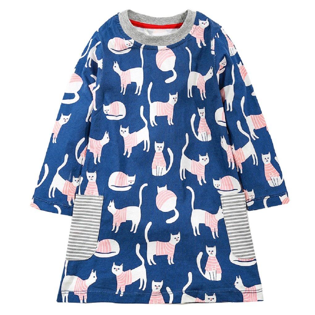 KIDSALON Little Girls Cotton Crewneck Cotton Dresses with Pocket (5T, Cute Cat)