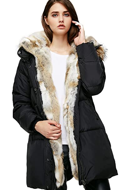 27841c09c85 Escalier Women's Down Jacket Winter Long Parka Coat with Raccoon Fur Hooded  Black ...