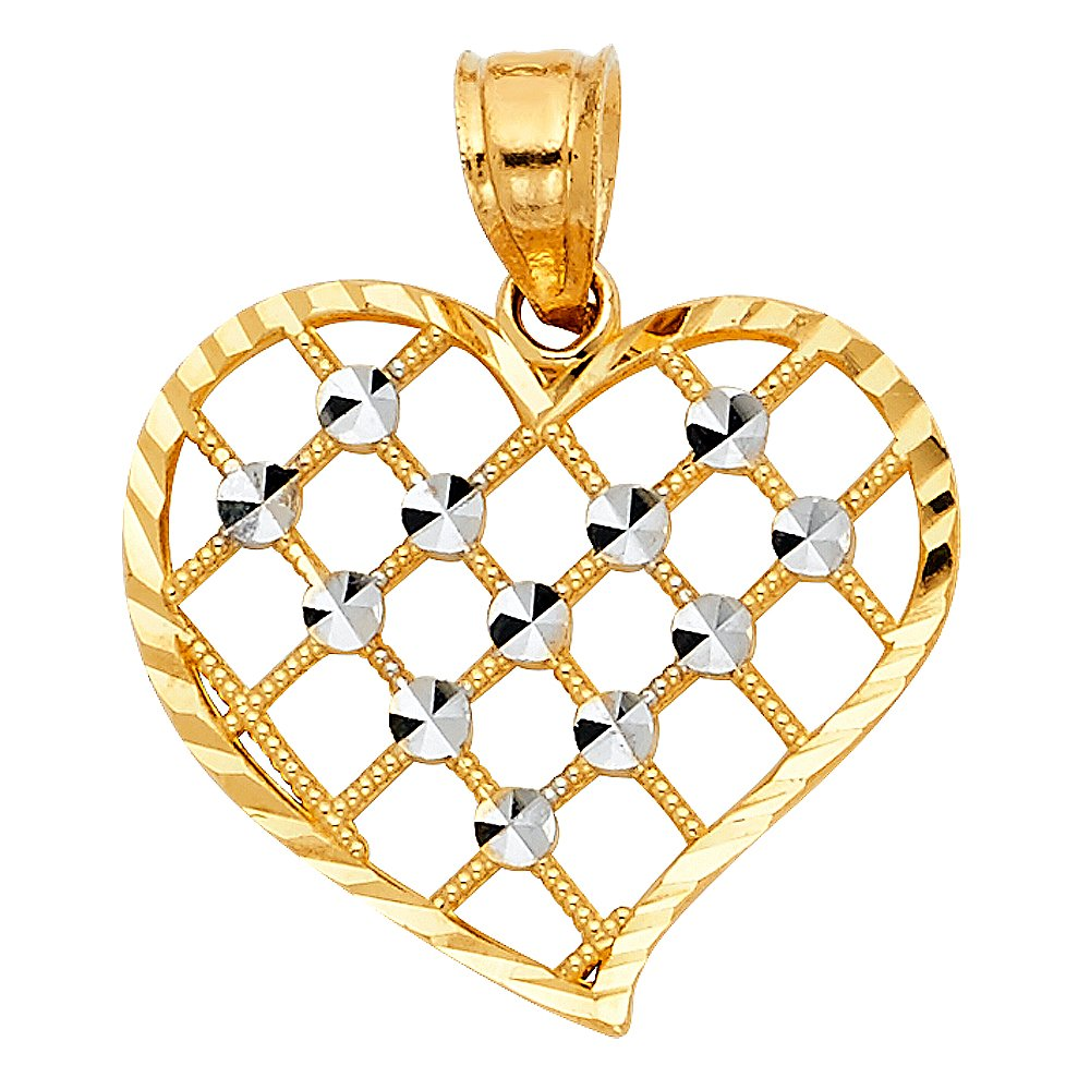 20mm x 20mm Million Charms 14k Two-Tone Gold Heart Charm Pendant with Criss-Cross Beaded Pattern and White Diamond-cut Round Circles