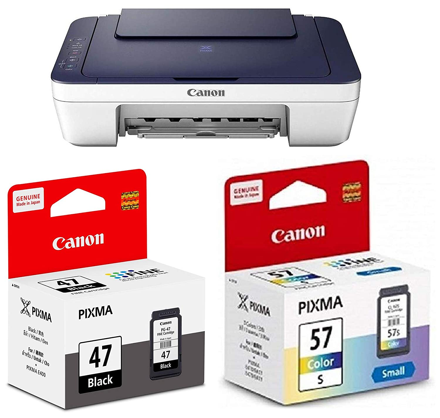 Canon E477 All-in-One Wireless Ink Efficient Colour Printer with PG47 & CL57s Ink Cartridge