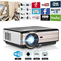 Proyector Full HD HDMI WiFi Bluetooth LED LCD WXGA Home Theater Proyector 3500 lúmenes inalámbrico Android 1080P Airplay Soporte de vídeo para Apple iOS iPhone Basement TV Stick DVD Player PS4 Wii