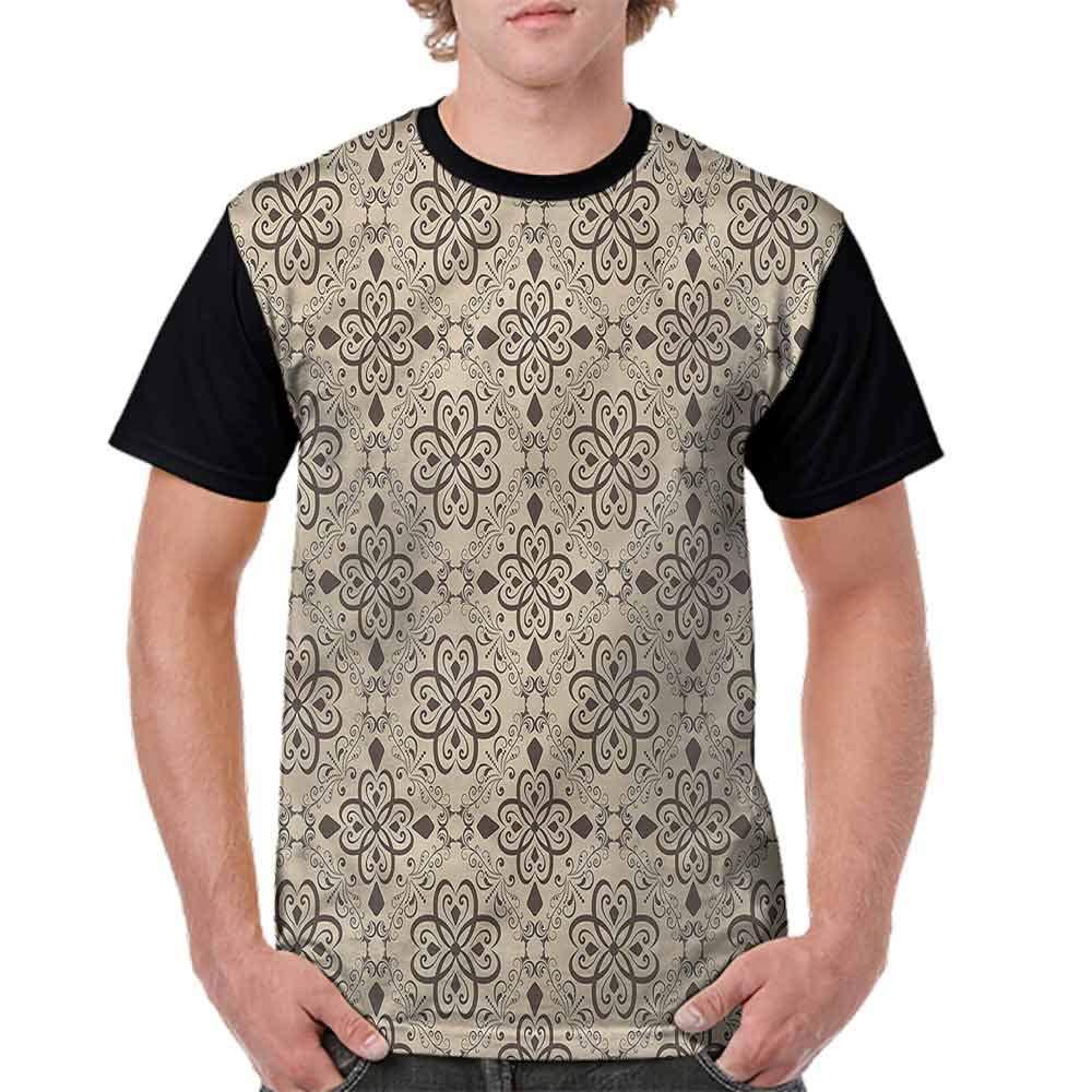 BlountDecor Cotton T-Shirt,Eastern Repeating Pattern Fashion Personality Customization