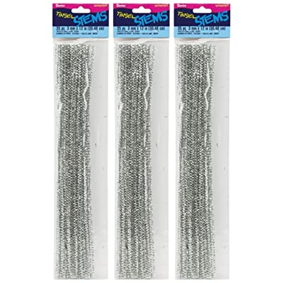 "3-Pack - Tinsel Stems 3mm 12"" 35/Pkg - Silver (105 total stems): Arts, Crafts & Sewing"