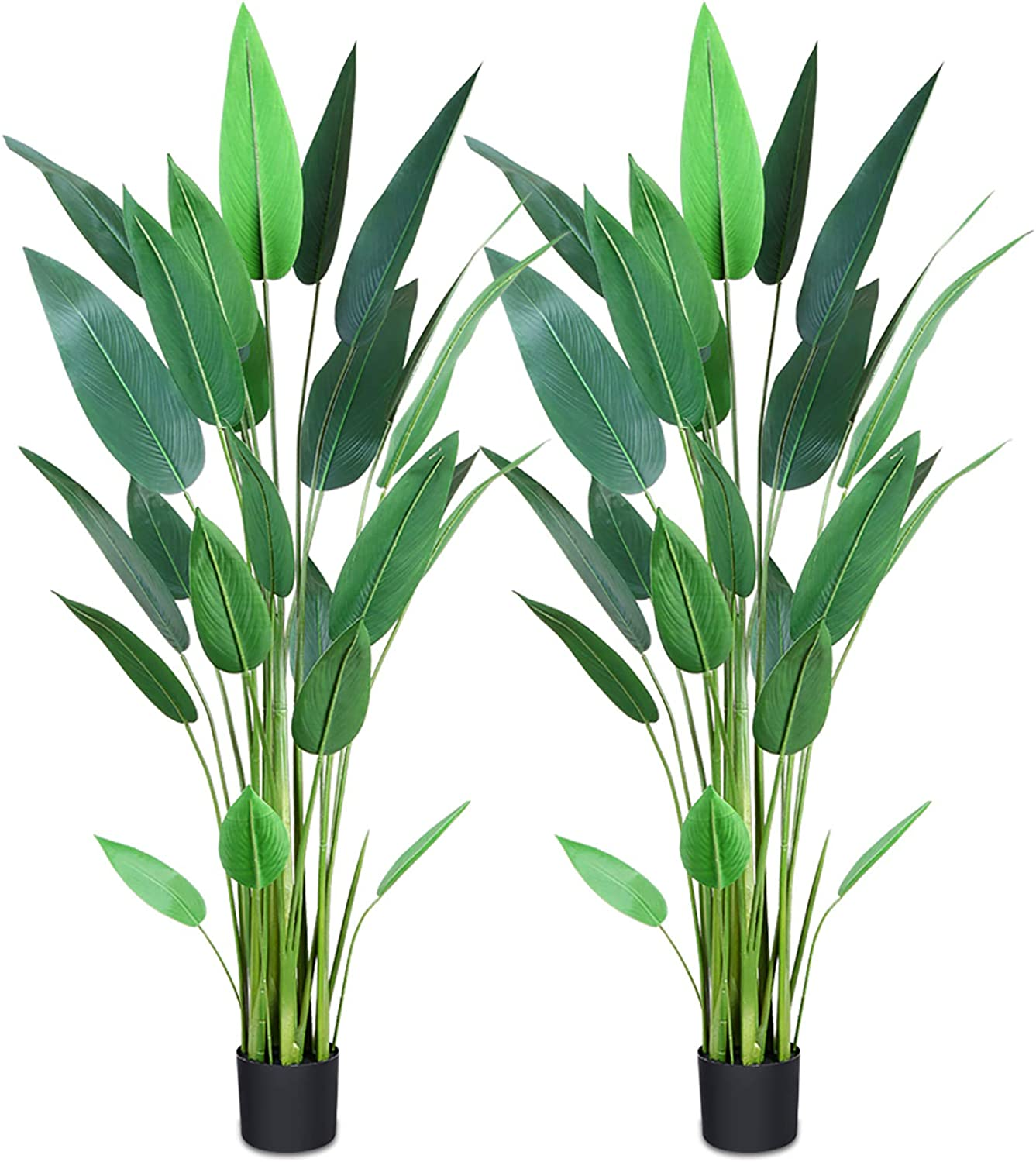 CROSOFMI Artificial Bird of Paradise Plant 5.2Feet,Fake Tropical Palm Tree,Perfect Faux Strelitzia Plants in Pot for Indoor Outdoor House Home Office Garden Modern Decoration Housewarming Gift-2Pack