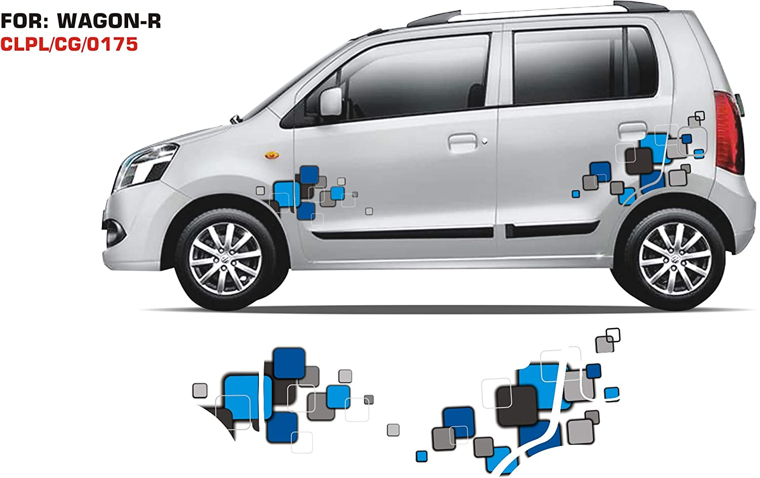 Automaze sticker graphics for maruti suzuki wagon r 0175 set of 2 blue grey amazon in car motorbike