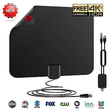 Antena TV Digital Interior,50 millas Gama de Recepción,3M Cable ...