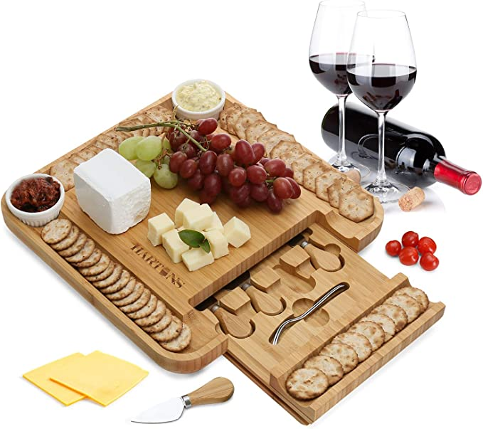 Display Drinks 3 Bamboo Eating Coffee Table Cheese and Charcuterie Dinner Lap Platter Lunch GLORD Rustic Wooden Serving Trays Rustic Ottoman Centerpieces Decorative Kitchen Cheese Board