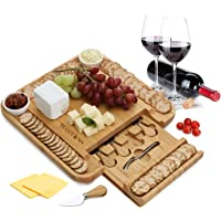 Bamboo Cheese Board 100% Natural with 6 Piece Cutlery Set In Slide-Out Drawer Strongest-and-Heaviest Duty Charcuterie…