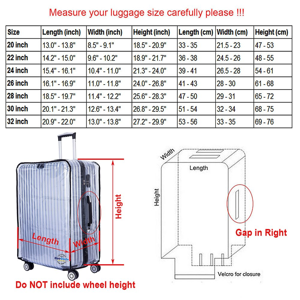 BlueCosto PVC Luggage Protector Travel Suitcase Cover 28'' (19.7''L x 12.2''W x 28.3''H) by BlueCosto (Image #6)