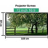 Mileagea Écran de Projection 72 Pouches 159x89cm seulement 1,4kg pour HD / 3D Film