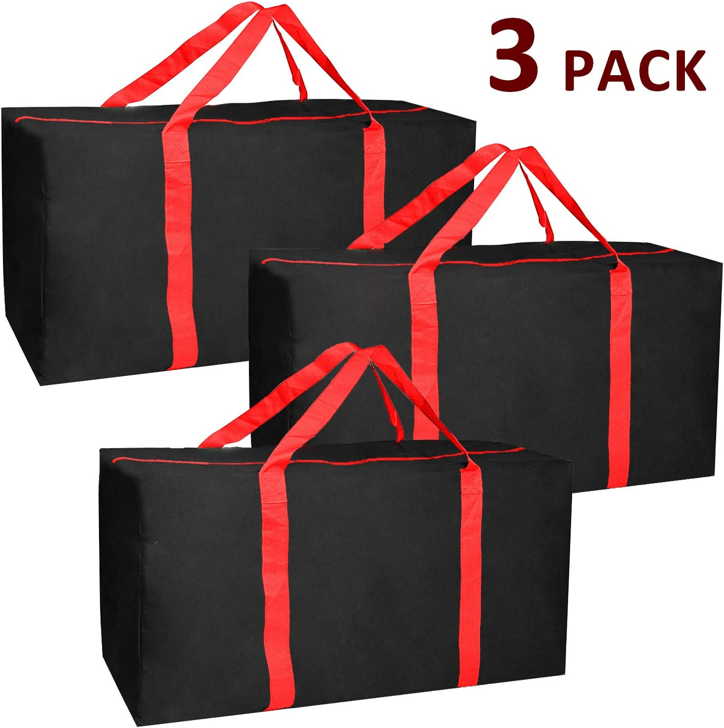 Jalousie 3 Pack Extra Large Heavy Duty Storage Bags Moving Bag Totes Storage Bin Space Saver Travel Duffel Bags - Made of Tough 600D Oxford (Black-Red 3 Pack)