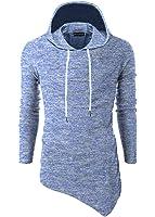 Moomphya Men's Slim Fit Hip Hop Hipster Hoodie Side Pocket Long Sleeve SWAG Irregular Hem T Shirt