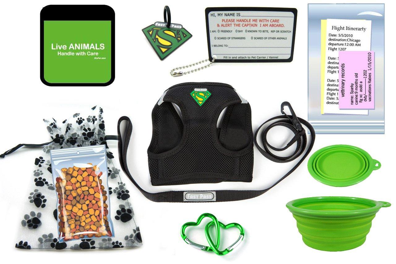 TSA Fast Pass In Cabin Pet Airline Travel Accessory Kit GREEN (Medium Harness)