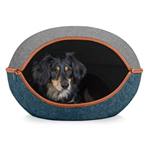 Furhaven Pet Cat Bed Furniture | Two-Color Round Felt Pet House Private Den Hideout Pet Bed for Cats & Small Dogs, Heather Gray/Lagoon Blue, One Size
