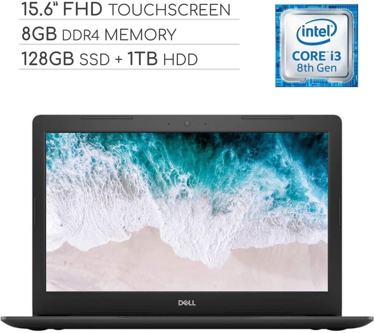 Dell Inspiron 15 5000 Laptop Computer 2019, 15.6 inch FHD Touchscreen Notebook, Intel Core i3-8130U 2.2Ghz, 8GB DDR4 RAM, 128GB SSD + 1TB HDD, Wi-Fi, Webcam, Windows 10