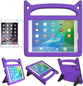 MOXOTEK Kids Case for iPad Mini 1 2 3 4 5, Cute Durable Shockproof Protective Handle Stand Case with Screen Protector for Apple 7.9 inch iPad Mini 5th (2019),4th,3rd,2nd,1st Generation, Purple