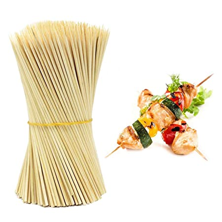 Zollyss Bamboo Wooden Skewers Stick for Oven Barbeque and Grilling -90 Sticks