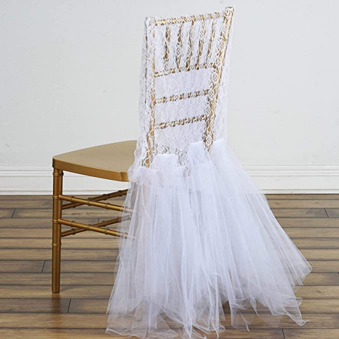 Efavormart White Bridal Wedding Party Lace and Tulle Tutu Chair Covers Dinning Event Slipcover for Banquet Catering