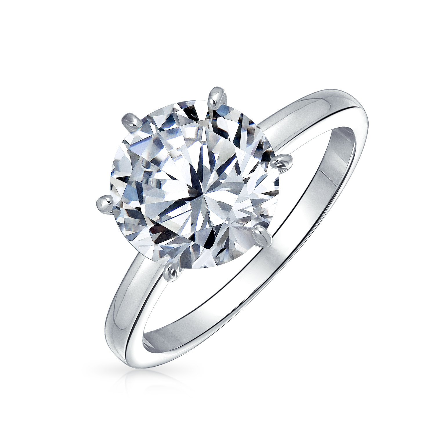Silver Plated Brass 3.5ct CZ Solitaire Bridal Engagement Ring