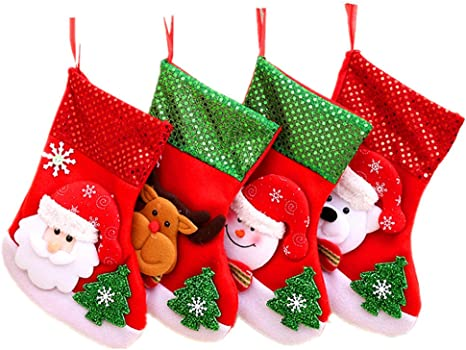 Kinteshun Christmas Santa Stockings Candy Bag Assorted Flannel Santa Gift Socks Hanging Accessories For Xmas Tree Decoration 4pcs Medium Size 10 Home Kitchen