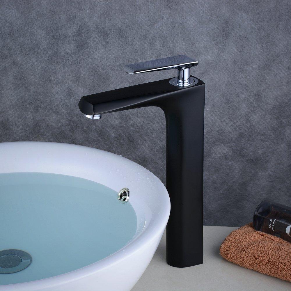 Robinet Mitigeur de Lavabo Mitigeur Pour Vasque à Poser Noir Mate Chrome Design