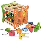 Éducatif et Scientifique - Cubes D'Activites, Boîte en bois, Cube de tri de formes / Formes à Trier et à Empiler et Abaque. 18 mois +